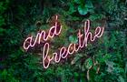 """and breathe"" in neon over greenery"