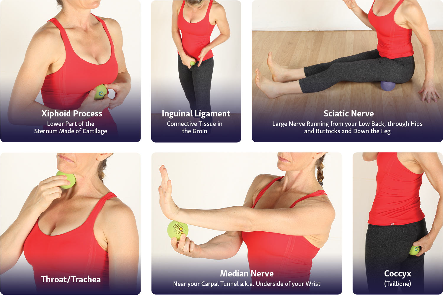 Areas on the body to avoid rolling with massage therapy balls.