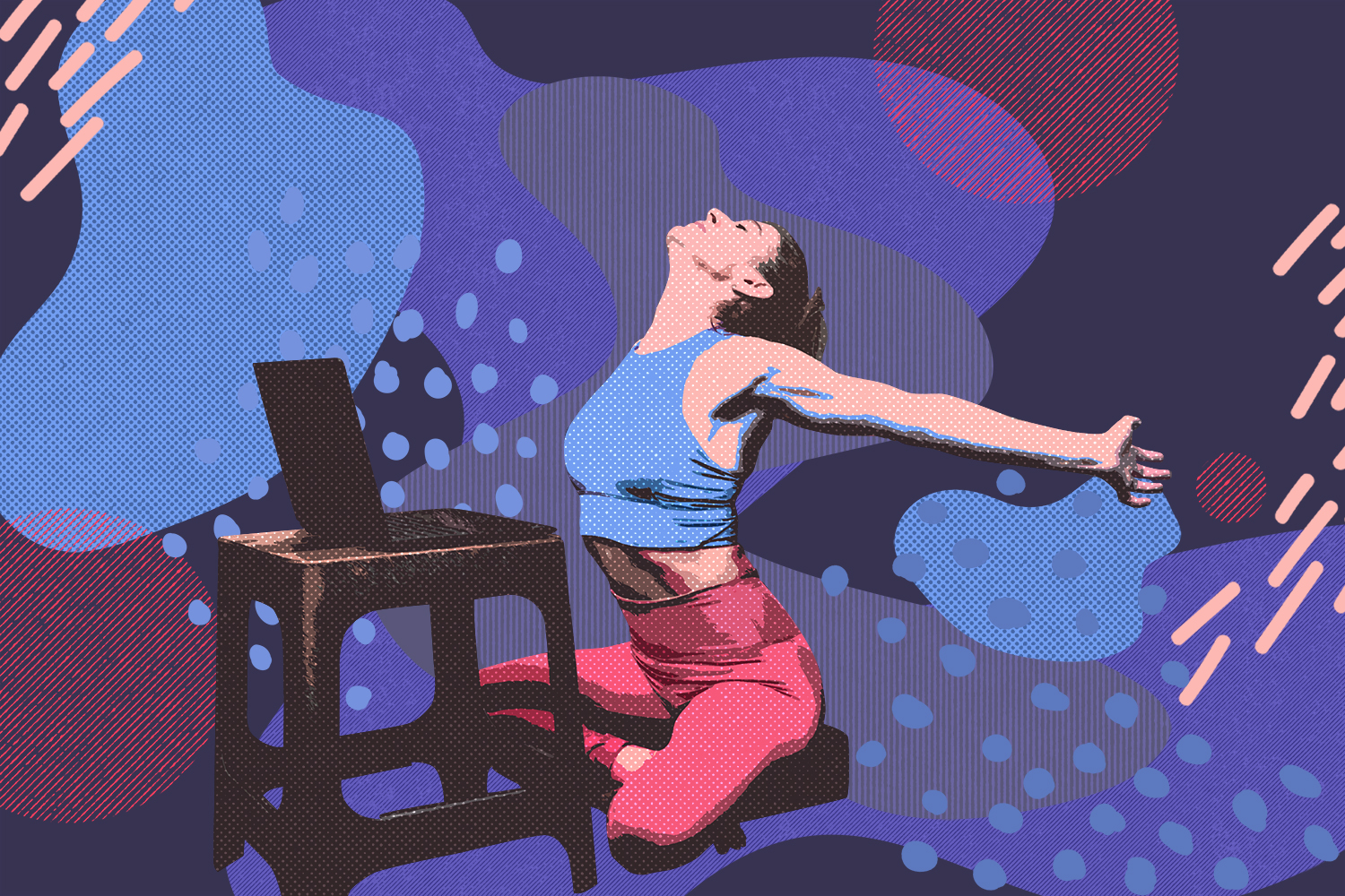 Woman in yoga outfit stretches in opposing posture and stretching out her arms and head behind her as a laptop sits in front of her view